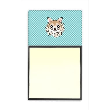 Carolines Treasures Checkerboard Blue Chihuahua Refiillable Sticky Note Holder Or Postit Note Dispenser, 3 x 3 In. (CRlT65109)