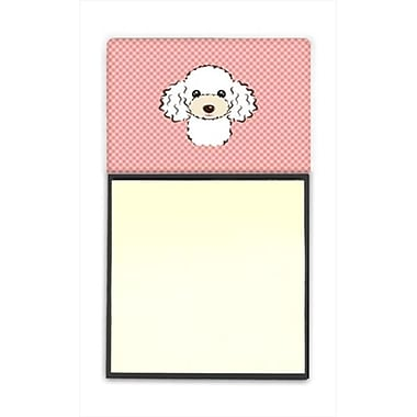 Carolines Treasures Checkerboard Pink White Poodle Refiillable Sticky Note Holder Or Postit Note Dispenser, 3 x 3 In (CRlT65239)