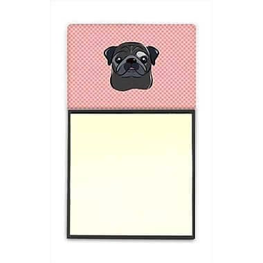 Carolines Treasures Checkerboard Pink Black Pug Refiillable Sticky Note Holder Or Postit Note Dispenser, 3 x 3 In. (CRlT65253)