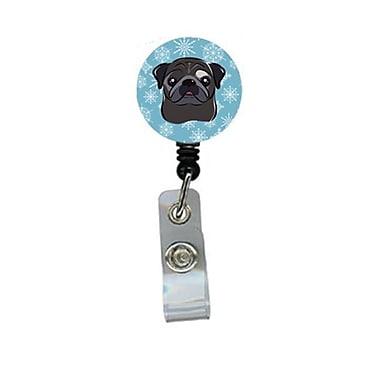 Carolines Treasures Snowflake Black Pug Retractable Badge Reel (CRlT84170)