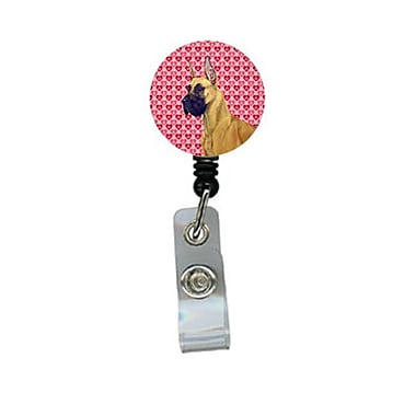 Carolines Treasures Great Dane Valentines love and Hearts Retractable Badge Reel or ID Holder with Clip (CRlT28475)