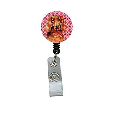 Carolines Treasures Irish Setter Valentines love and Hearts Retractable Badge Reel or ID Holder with Clip (CRlT28427)