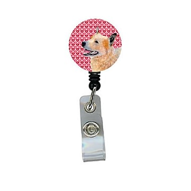 Carolines Treasures Australian Cattle Dog Valentines love and Hearts Retractable Badge Reel or ID Holder with Clip (CRlT28530)