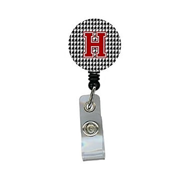 Carolines Treasures Houndstooth Black Initial H Monogram Initial Retractable Badge Reel Or Id Holder With Clip (CRlT29212)