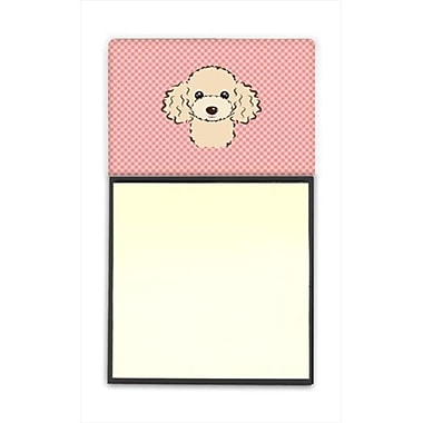 Carolines Treasures Checkerboard Pink Buff Poodle Refiillable Sticky Note Holder Or Postit Note Dispenser, 3 x 3 In. (CRlT65241)