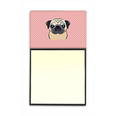 Carolines Treasures Checkerboard Pink Fawn Pug Refiillable Sticky Note Holder Or Postit Note Dispenser, 3 x 3 In. (CRlT65251)