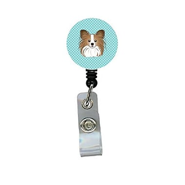 Carolines Treasures Checkerboard Blue Papillon Retractable Badge Reel (CRlT64380)