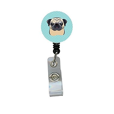 Carolines Treasures Checkerboard Blue Fawn Pug Retractable Badge Reel (CRlT64409)