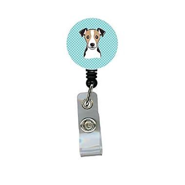 Carolines Treasures Checkerboard Blue Jack Russell Terrier Retractable Badge Reel (CRlT64407)