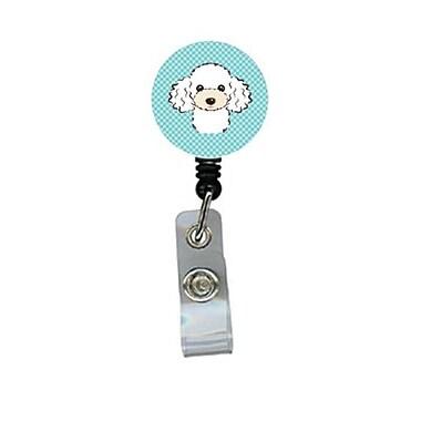 Carolines Treasures Checkerboard Blue White Poodle Retractable Badge Reel (CRlT64399)
