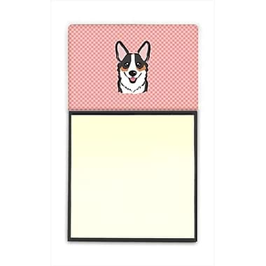 Carolines Treasures Checkerboard Pink Corgi Refiillable Sticky Note Holder Or Postit Note Dispenser, 3 x 3 In. (CRlT65235)