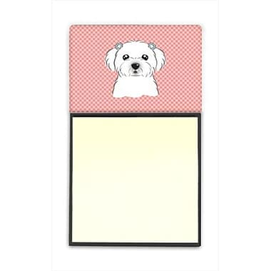 Carolines Treasures Checkerboard Pink Maltese Refiillable Sticky Note Holder Or Postit Note Dispenser, 3 x 3 In. (CRlT65148)