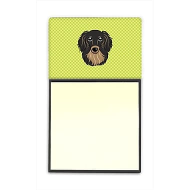 Carolines Treasures Checkerboard lime Green longhair Black And Tan Dachshund Sticky Note Holder, 3 x 3 In. (CRlT65277)