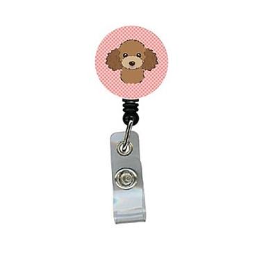 Carolines Treasures Checkerboard Pink Chocolate Brown Poodle Retractable Badge Reel (CRlT64531)