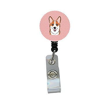 Carolines Treasures Checkerboard Pink Corgi Retractable Badge Reel (CRlT64527)