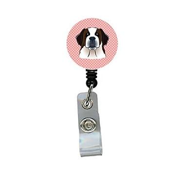Carolines Treasures Checkerboard Pink Saint Bernard Retractable Badge Reel (CRlT64517)