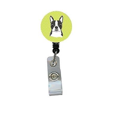 Carolines Treasures Checkerboard lime Green Boston Terrier Retractable Badge Reel (CRlT64548)