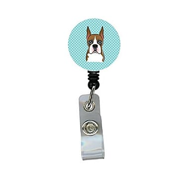 Carolines Treasures Checkerboard Blue Boxer Retractable Badge Reel (CRlT64158)