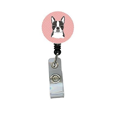 Carolines Treasures Checkerboard Pink Boston Terrier Retractable Badge Reel (CRlT64311)