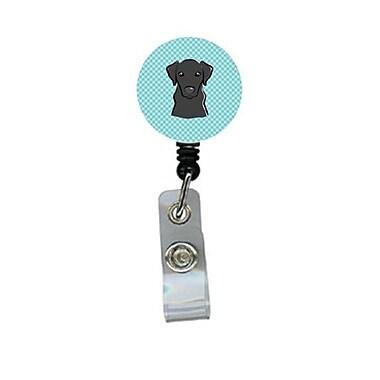 Carolines Treasures Checkerboard Blue Black labrador Retractable Badge Reel (CRlT64354)