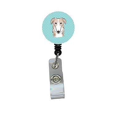 Carolines Treasures Checkerboard Blue Borzoi Retractable Badge Reel (CRlT64340)