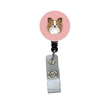 Carolines Treasures Checkerboard Pink Papillon Retractable Badge Reel (CRlT64314)