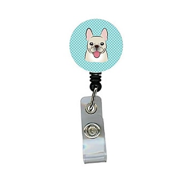 Carolines Treasures Checkerboard Blue French Bulldog Retractable Badge Reel (CRlT64360)