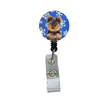 Carolines Treasures Winter Snowflakes Holiday Yorkie Puppy And Yorkshire Terrier Retractable Badge Reel (CRlT61056)