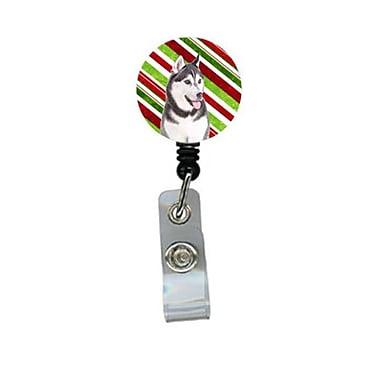 Carolines Treasures Candy Cane Holiday Christmas Alaskan Malamute Retractable Badge Reel (CRlT61043)