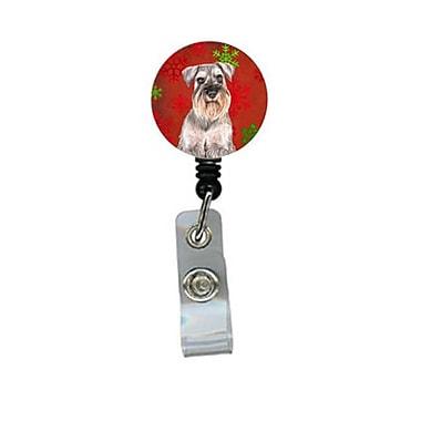 Carolines Treasures Red Snowflakes Holiday Christmas Schnauzer Retractable Badge Reel (CRlT60529)