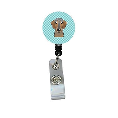 Carolines Treasures Checkerboard Blue Wirehaired Dachshund Retractable Badge Reel (CRlT64350)