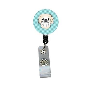 Carolines Treasures Checkerboard Blue Pekingese Retractable Badge Reel (CRlT64309)