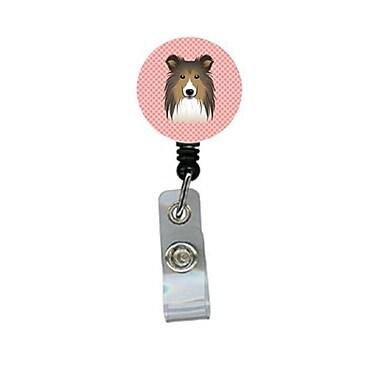Carolines Treasures Checkerboard Pink Sheltie Retractable Badge Reel (CRlT64169)