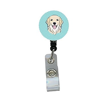 Carolines Treasures Checkerboard Blue Golden Retriever Retractable Badge Reel (CRlT64278)
