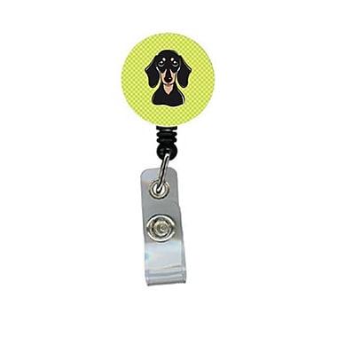Carolines Treasures Checkerboard lime Green Smooth Black And Tan Dachshund Retractable Badge Reel (CRlT64572)