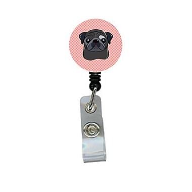 Carolines Treasures Checkerboard Pink Black Pug Retractable Badge Reel (CRlT64544)