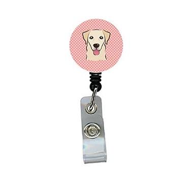 Carolines Treasures Checkerboard Pink Golden Retriever Retractable Badge Reel (CRlT64522)