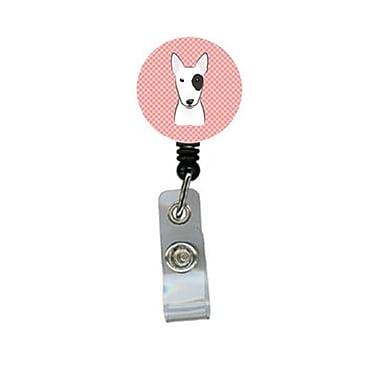 Carolines Treasures Checkerboard Pink Bull Terrier Retractable Badge Reel (CRlT64449)