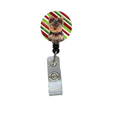Carolines Treasures Candy Cane Holiday Christmas Yorkie Puppy And Yorkshire Terrier Retractable Badge Reel (CRlT61049)