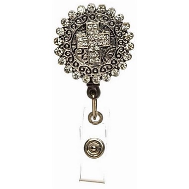 Accent Accessories Badge Holder, Crystal Cross - Pull-Reel (ANCRD67125)
