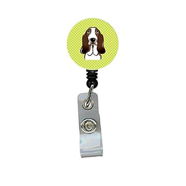Carolines Treasures Checkerboard lime Green Basset Hound Retractable Badge Reel (CRlT64620)