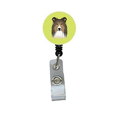 Carolines Treasures Checkerboard lime Green Sheltie Retractable Badge Reel (CRlT64618)