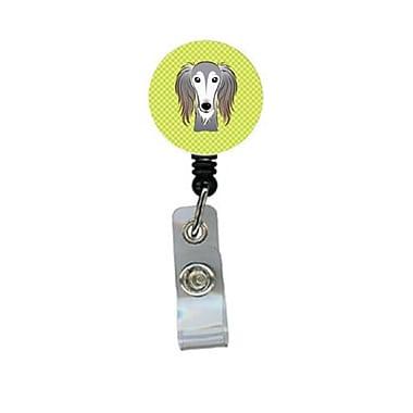 Carolines Treasures Checkerboard lime Green Saluki Retractable Badge Reel (CRlT64598)