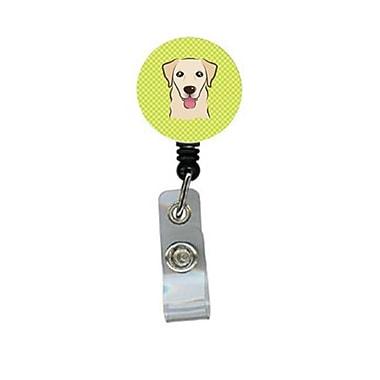 Carolines Treasures Checkerboard lime Green Golden Retriever Retractable Badge Reel (CRlT64634)