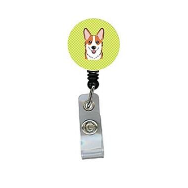 Carolines Treasures Checkerboard lime Green Corgi Retractable Badge Reel (CRlT64636)