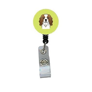 Carolines Treasures Checkerboard lime Green Cavalier Spaniel Retractable Badge Reel (CRlT64592)