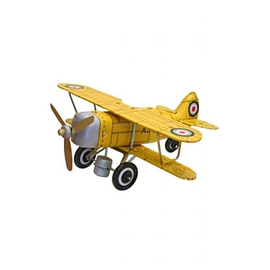 SHAN Collectible Tin Toy - Yellow Curtis biplane (AxNRT1815)