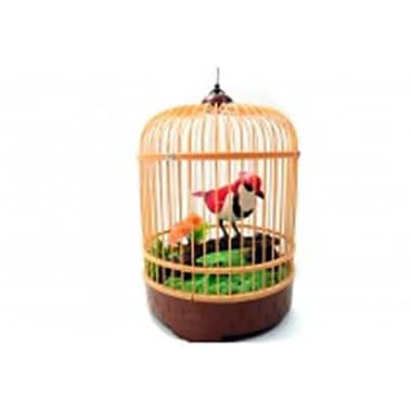 Az Import and Trading Singing and Chirping Bird in Cage - Realistic Sounds and Movements Red - 10.5 x 7 in. (AZIMPT02371)