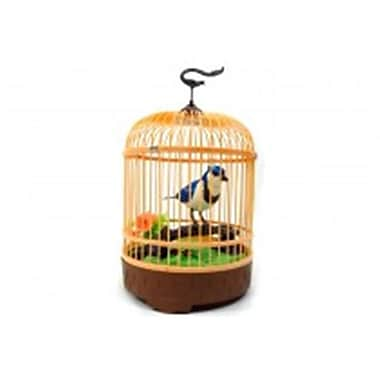 Az Import and Trading Singing and Chirping Bird in Cage - Realistic Sounds and Movements Blue - 10.5 x 7 in. (AZIMPT02370)