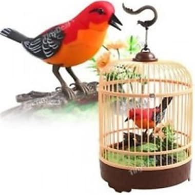 Az Import and Trading Singing and Chirping Bird in Cage - Realistic Sounds and Movements Red (AZIMPT02369)